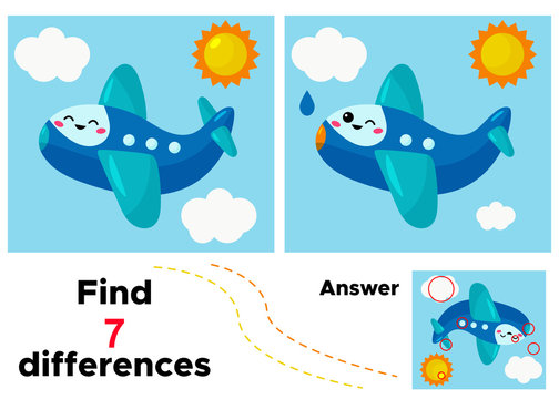 Find 7 differences. Vector kawaii cartoon plane. Educational game for kids.