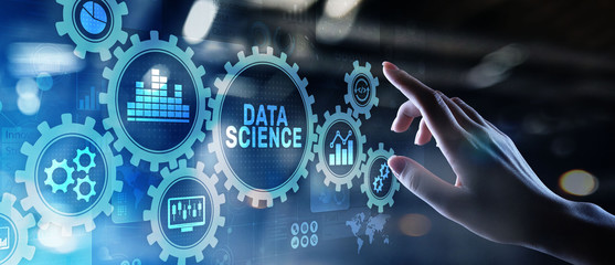 Big Data science analysis business technology concept on virtual screen.