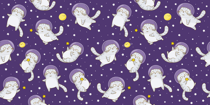 Seamless pattern with cute scottishfold cats astronauts on starry space background