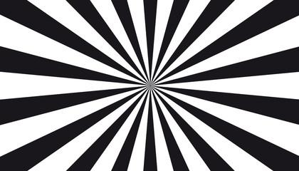Black And White Sunburst Background - Vector Illustration Wall mural