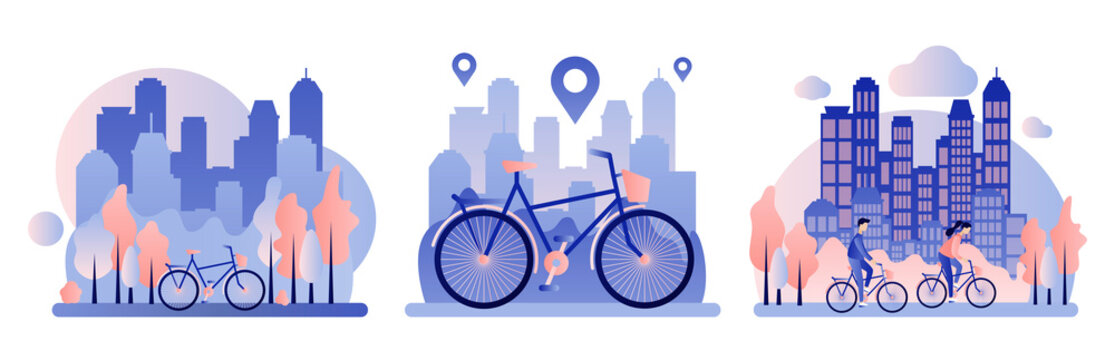 Bike rental. Background the city with skyscrapers. Flat style. Vector illustration