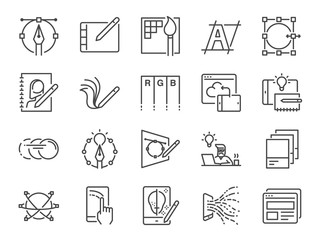 Obraz Digital design line icon set. Included icons as graphic designer, layout, tablet, mobile app, web design and more. - fototapety do salonu