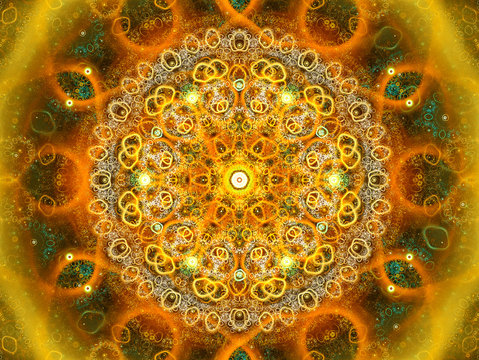 Composition in soft color. Graphic Design. Magic energy multicolored fractal. 3D rendering.