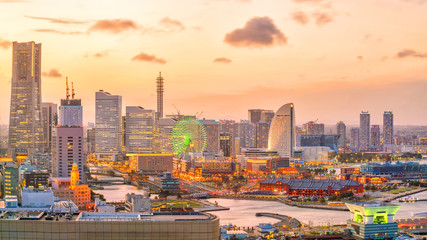 Fotomurales - Yokohama city skyline at sunset
