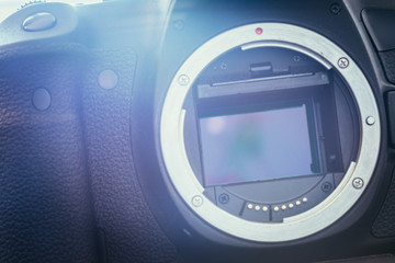 Camera Sensor: close up picture of a professional reflex camera