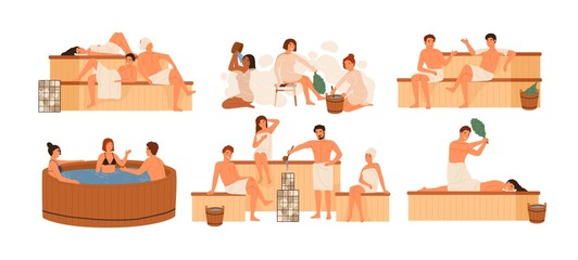 Wall Mural - Collection of people bathing in sauna or banya full of steam. Set of happy men and women taking bath, washing their bodies. Activity for wellness and recreation. Flat cartoon vector illustration.
