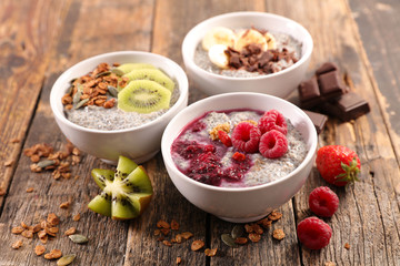chia pudding with granola and fruit