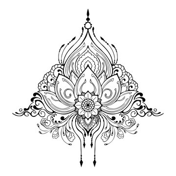 Mehndi lotus flower installation for henna drawing tattoo element decoration in ethnic oriental Indian vector