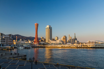 Wall Mural - Port of Kobe skyline in beautiful afternoon, Kansai, Japan