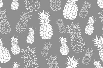 Seamless pattern with pineapple. Vintage pineapple seamless for your business. Vector texture. grey ink pattern