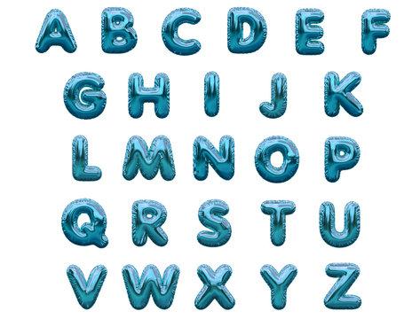 Blue alphabet foil party celebration balloons. 3D rendering