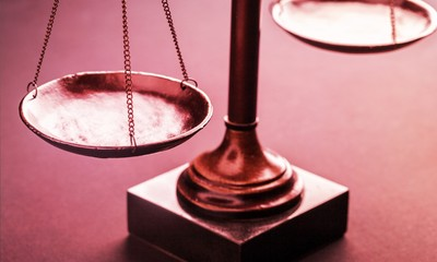 Law scales justics scale weighing old lawyer litigation Fototapete
