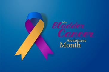 Bladder Cancer Awareness Calligraphy Poster Design. Realistic Marigold And Blue And Purple Ribbon. May is Cancer Awareness Month. Vector
