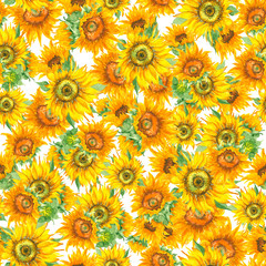 Sunflower seamless pattern watercolor