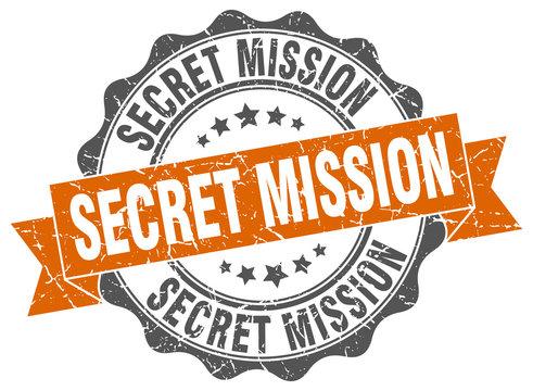 secret mission stamp. sign. seal