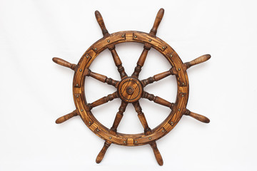 Obraz Steering hand wheel ship on white background - fototapety do salonu