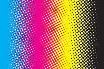 Abstract CMYK color mode structure in form of gradient with color halftone filter. Background for poster for graphic design learners. Structure of Cyan Magenta Yellow Black scheme print on paper