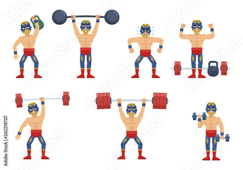 Set of luchador characters working out at the gym  Cheerful wrestler