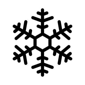 Snowflake, icon. Black. Vector illustration.