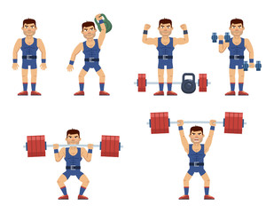 Set of weightlifter characters working out at the gym. Cheerful strongman lifting kettlebell, barbell, dumbbells. Training session, weightlifting. Flat style vector illustration