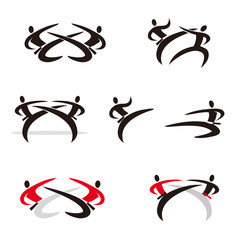Martial Arts, karate, taekwondo icons. Set of black and colorful expressively stylized karate icons. Vector available.