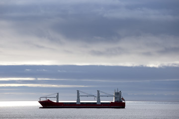 Tanker in the Straits of Magellan, Chile