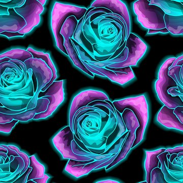 Vector seamless pattern with mysterious neon glowing roses background