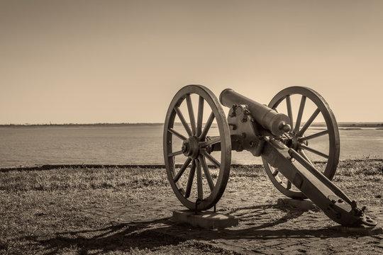 Closeup Of A Civil War Cannon