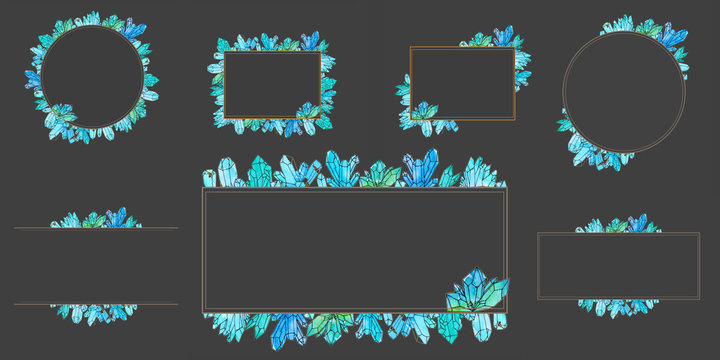 Hand painted watercolor set of crystals templates isolated on dark background.