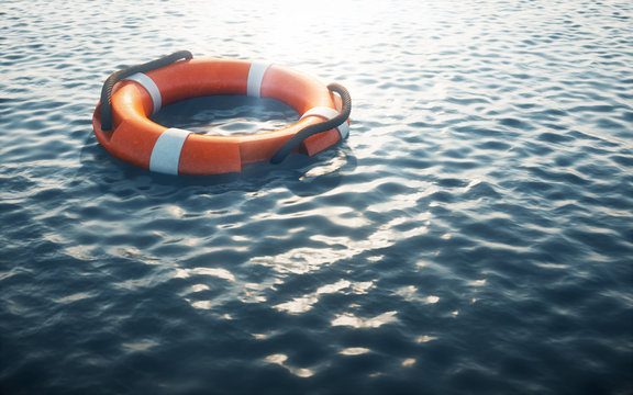 Lifebuoy on water. 3d rendering