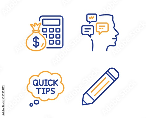 Messages, Quick tips and Finance calculator icons simple set  Pencil