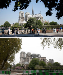 A combination picture shows the Notre-Dame Cathedral before and after a fire devasted large parts of the gothic structure in Paris