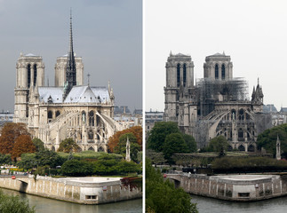 A combination picture shows views of Notre-Dame Cathedral before and after a massive fire devastated large parts of the gothic structure in Paris