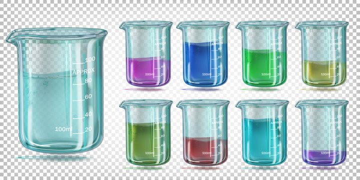Set glass chemical beaker with colored liquid. Vector images isolated on a transparent background.