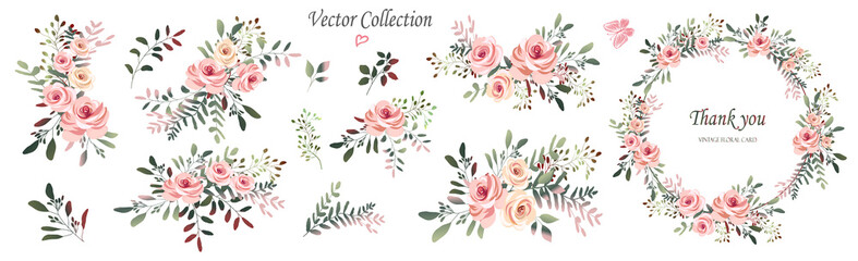 Vector. Wreaths.  Botanical collection of wild and garden plants. Set: leaves, flowers, branches, pink roses,floral arrangements, natural elements. Fotomurales
