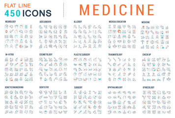 Set Vector Line Icons of Medicine