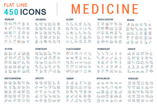 Set Vector Line Icons of Medicine