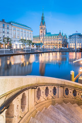 Wall Mural - Hamburg city hall with Binnenalster at twilight, Germany