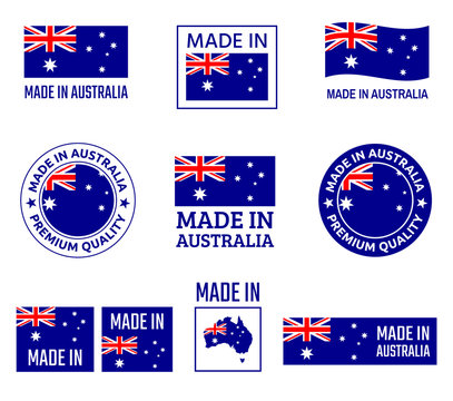 made in Australia labels set, made in Commonwealth of Australia product emblem