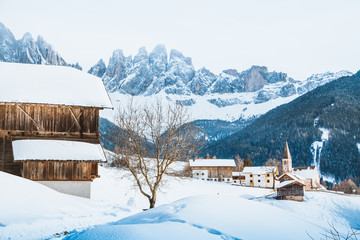 Fototapete - Dolomites mountain peaks with Val di Funes village in winter, South Tyrol, Italy