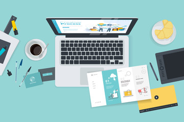 Creative workspace concept, top view. Flat design vector illustration for graphic and website design and development, creative process, business planning, strategy and presentation, internet marketing