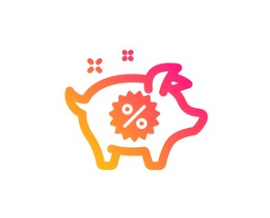 Piggy sale icon. Shopping discount sign. Clearance symbol. Classic flat style. Gradient piggy sale icon. Vector