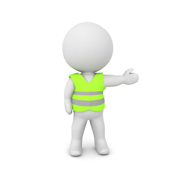 3D Character wearing a yellow vest