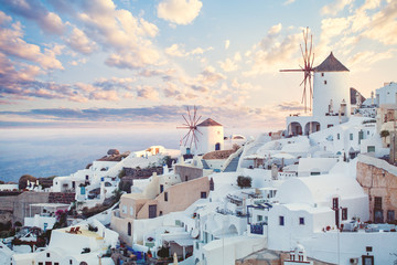 Fotobehang Santorini Beautiful Santorini landscape, Greece landmark. Clouds sky and coastline