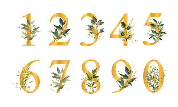 Golden floral numbers with green leaves and gold splatters isolated