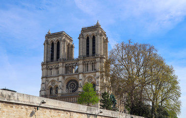 Notre Dame Cathedral in spring. Before the fire. April 05, 2019.  Paris France