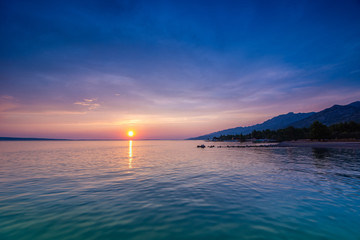 Beautiful Sunset Over Adriatic Sea Near Starigrad In Croatia