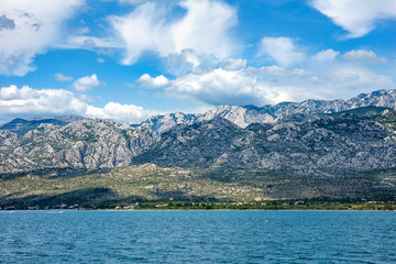 Adriatic Sea With View Over Paklenica National Park Mountains