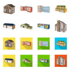 Vector illustration of facade and housing icon. Set of facade and infrastructure stock symbol for web.