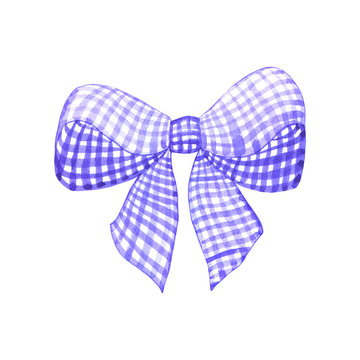 Violet purple white bow. Hand drawn watercolor illustration. Isolated on white background.
